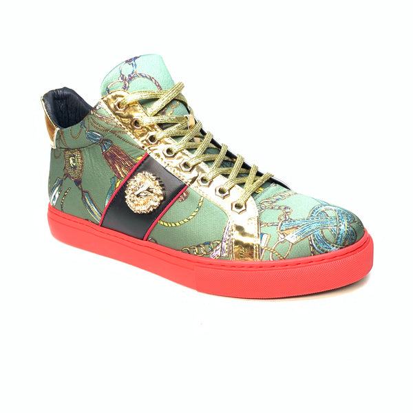 Fiesso Lion Key Green Gold Sneakers - Dudes Boutique