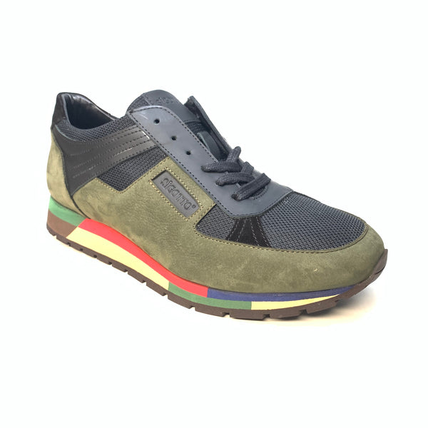 Sigotto Green Suede ColorBlock Sneakers - Dudes Boutique