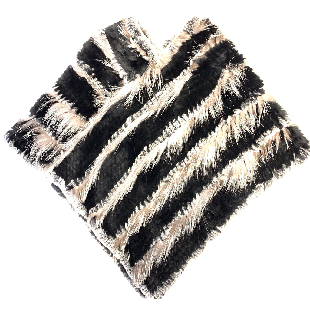 Volare Silver Knitted Fox & Rex Poncho - Dudes Boutique
