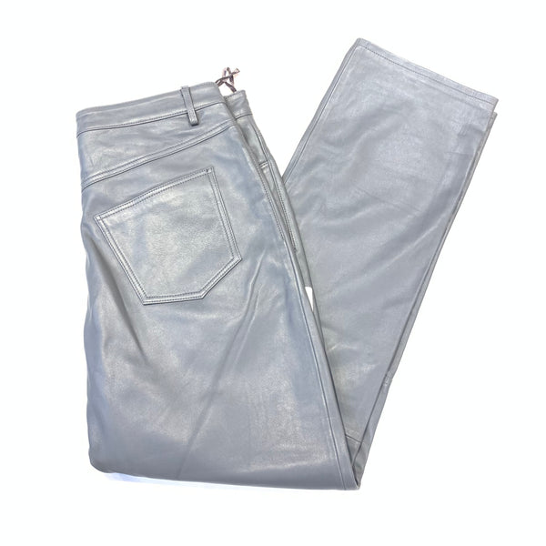 Kashani Men's Grey Lambskin Straight Cut Pant - Dudes Boutique