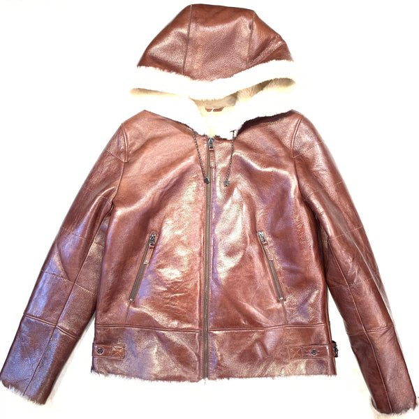 Barya NewYork Whiskey Lambskin Hooded Shearling - Dudes Boutique