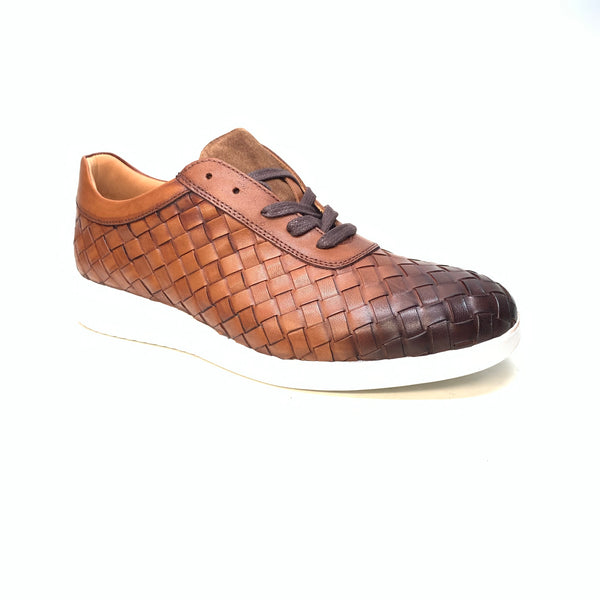 Sigotto Men's Brown Woven Leather Lace Up Sneakers - Dudes Boutique