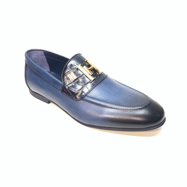Sigotto Men's Navy Blue Leather/Embossed Gator Penny Loafers - Dudes Boutique