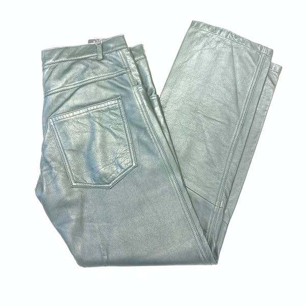 Kashani Men's Olive Green Lambskin Straight Cut Pant - Dudes Boutique