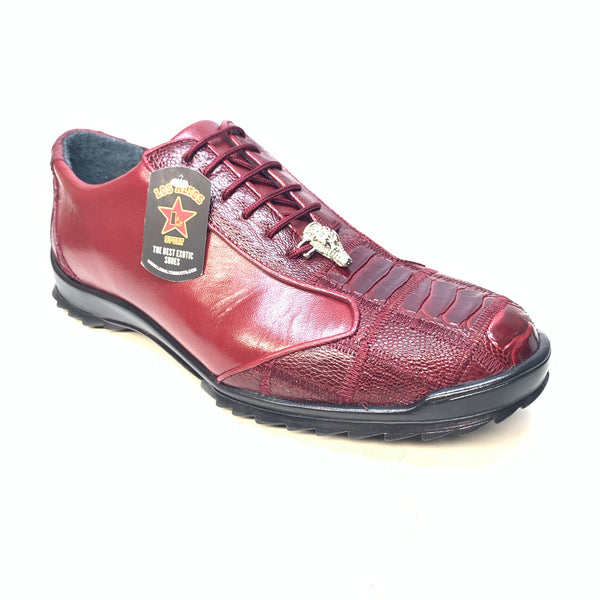Los Altos Wine Red Ostrich Leg Lace Up Sneakers - Dudes Boutique