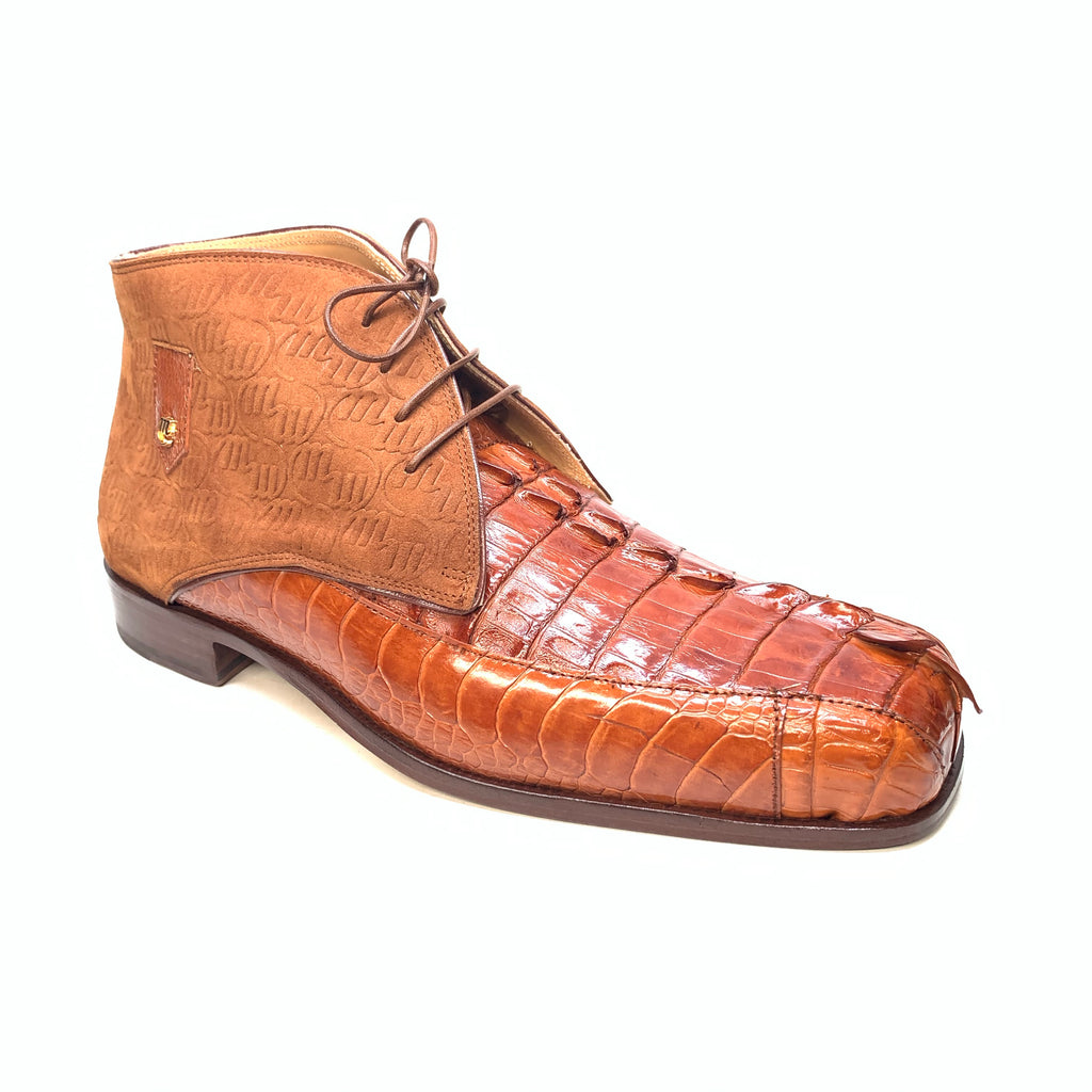 Mauri 2831 'Chicago' Cognac Ostrich Leg/Hornback Tail/Calf Ankle Boot