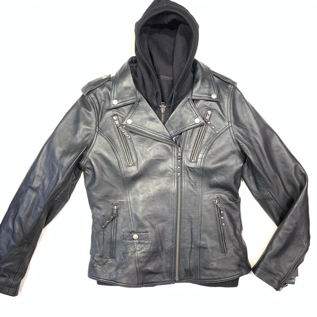 FMC Ladies Black Leather Hooded Biker Jacket