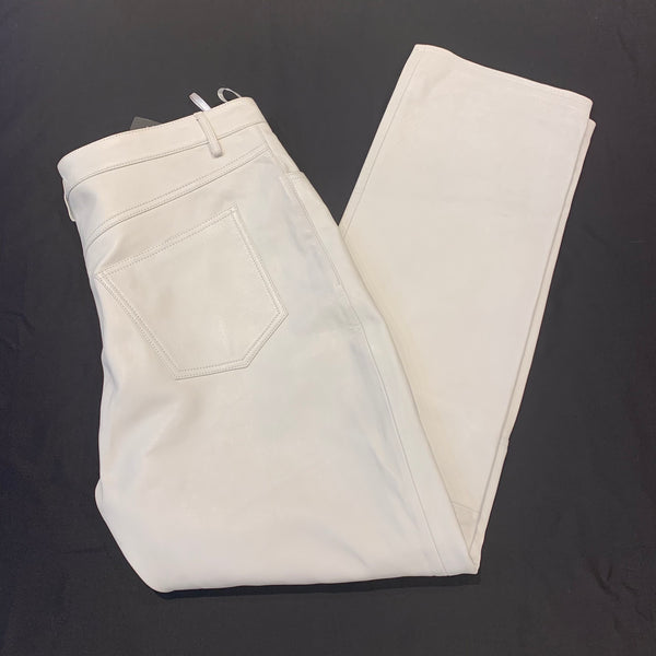 Kashani Men's White Lambskin Straight Cut Pant - Dudes Boutique