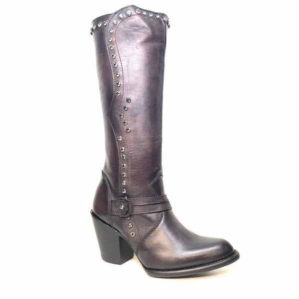 Los Altos Ladies Black Crystal Bovine Leather Knee Boot - Dudes Boutique