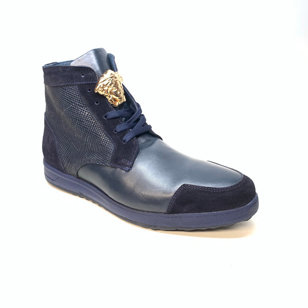 Sigotto Men's  Navy Blue Leather/Embossed Lizard High-Top Sneaker - Dudes Boutique