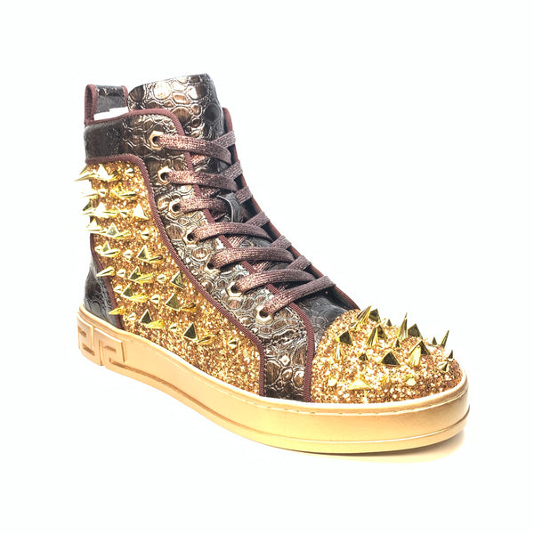 Fiesso Gold Crystal Spike Croco High-top Sneakers