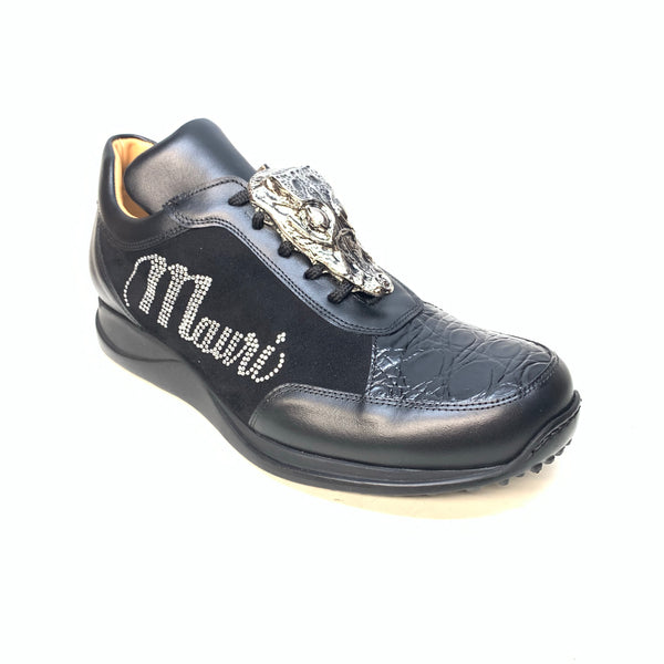 Mauri 8767 Black Crocodile Suede Crystal Sneakers - Dudes Boutique