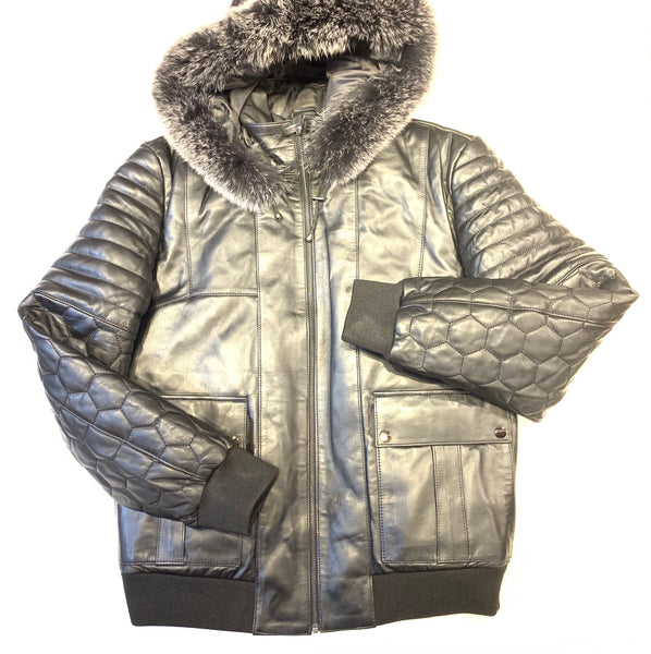 Barya NewYork Quilted Lambskin Silver Fox Fur Hooded Bomber Jacket
