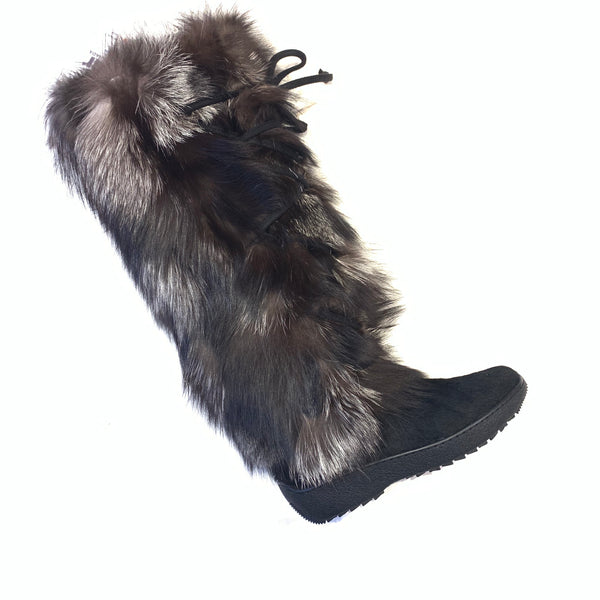 Pajar Canada Black 'FOXY STAR' Fox Fur Boots - Dudes Boutique