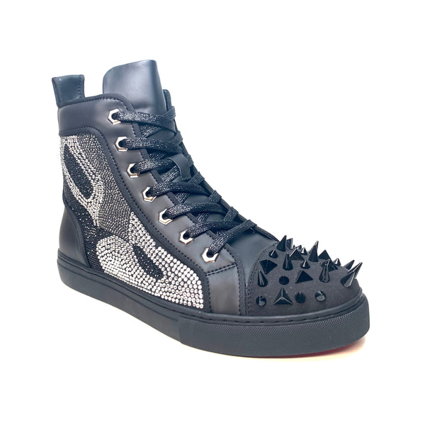 Fiesso Black Mixed Crystal Hightop Spike Sneakers - Dudes Boutique