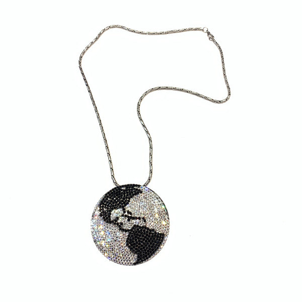b.b. Simon Black & Silver Globe Fully Loaded Swarovski Crystal Necklace