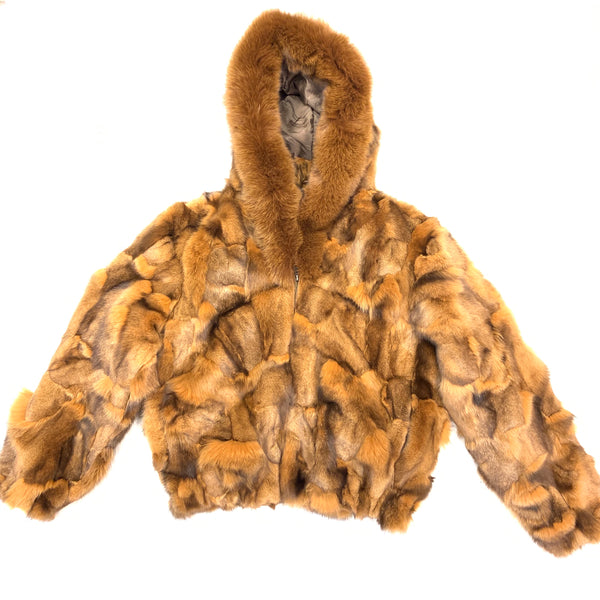 Kashani Women's Whiskey Full Fox Hooded Fur Coat - Dudes Boutique