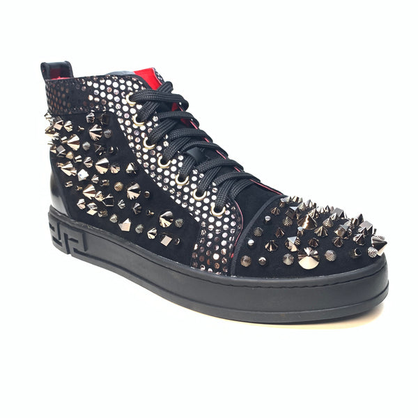 Fiesso All Black Spiked High-top Sneakers - Dudes Boutique