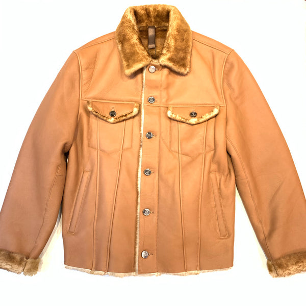 Barya NewYork Cognac Button Up Shearling Jacket - Dudes Boutique