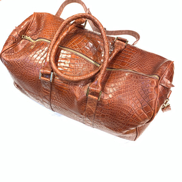 Kashani Cognac Full Alligator Body Duffle Bag - Dudes Boutique