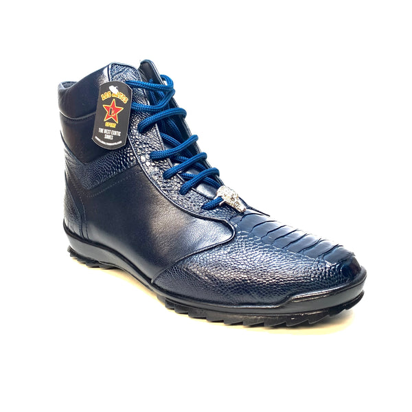 Los Altos Navy Blue Ostrich Leg High-top Sneakers