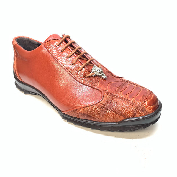 Los Altos Cognac Ostrich Leg Lace Up Sneakers - Dudes Boutique