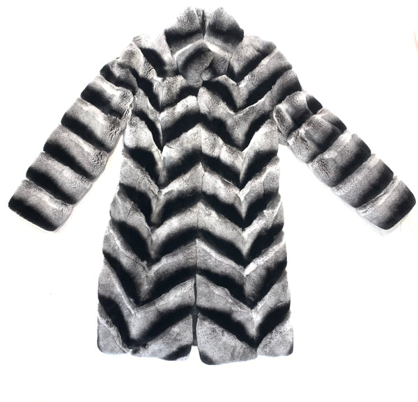 Volare Rex Chinchilla Fur Trench Coat