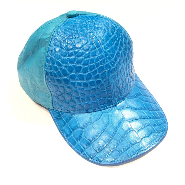 All-Over Sky Blue  Handmade Crocodile & Ostrich Quill Strapback Hat - Dudes Boutique