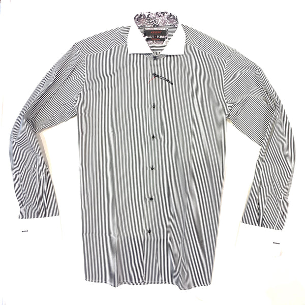 Axxess White Black Stripes French Cuff Button Up Shirt