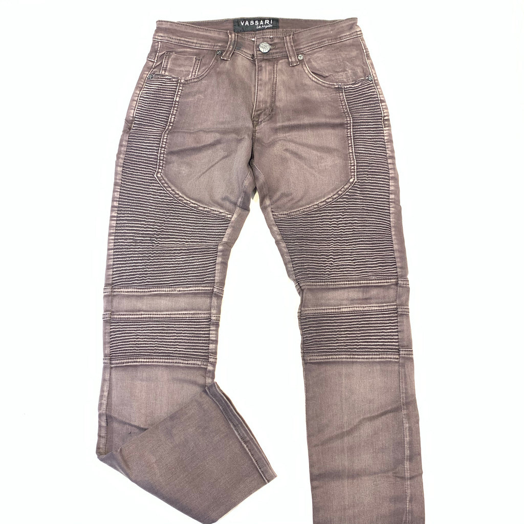 Vassari Burnish Brown Biker Denim Jeans - Dudes Boutique