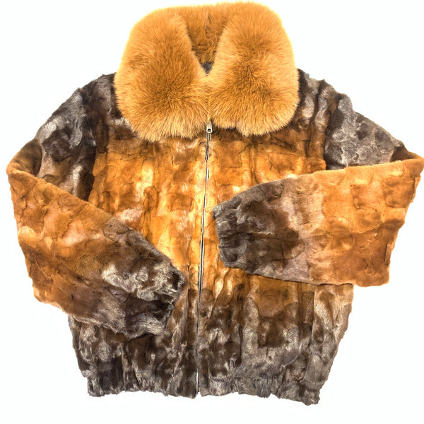 Kashani Women's Chocolate Brown Two Tone Diamond Cut Mink Fur Coat