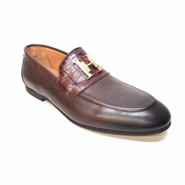 Sigotto Men's Brown Leather/Embossed Gator Penny Loafers - Dudes Boutique