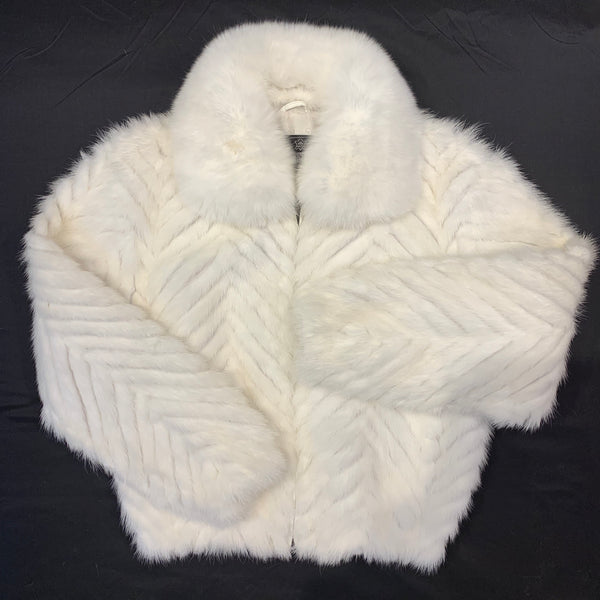 Kashani Women's White Mink Tail Fur Coat