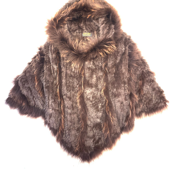 Jayley Chocolate Fox & Coney Fur Hooded Poncho - Dudes Boutique