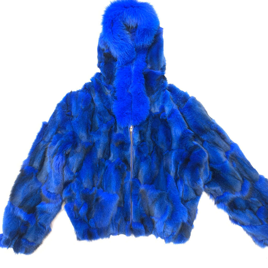 Kashani Women's Royal Blue Fox Fox Hooded Bomber Coat - Dudes Boutique