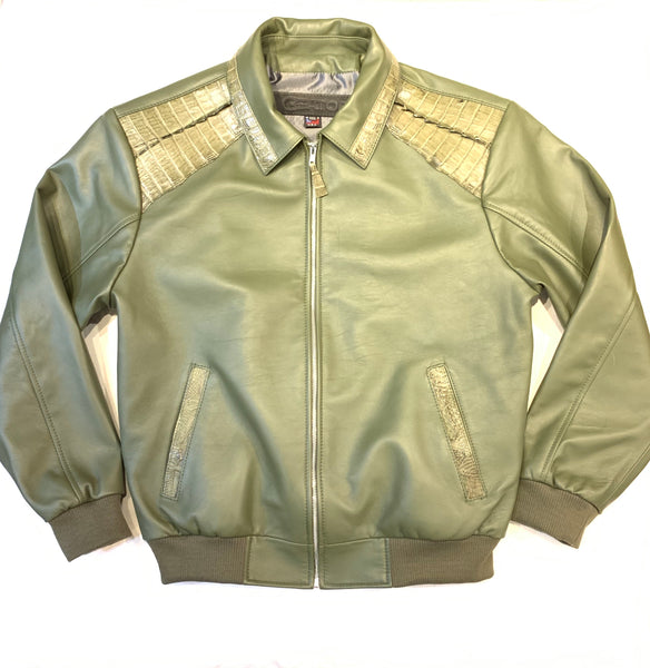 Kashani Olive Alligator Bomber Jacket