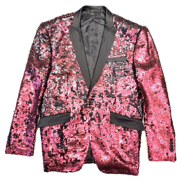Angelino Wine Red Sequin Blazer