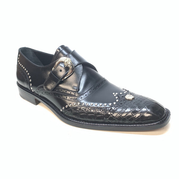 Mauri 3051 Black Alligator Studded Monk Strap Dress Shoes - Dudes Boutique