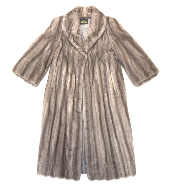 Kashani Ladies Charcoal Full Mink Trench Coat