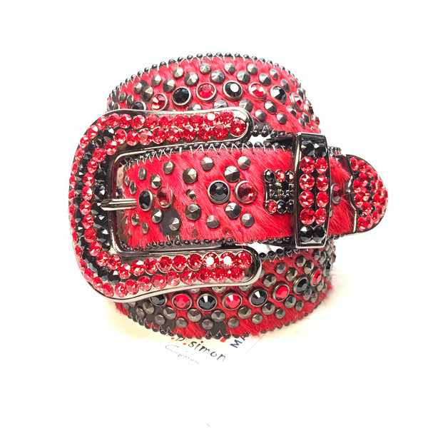 b.b. Simon 'Red War' Pony Hair Studded Swarovski Crystal Belt