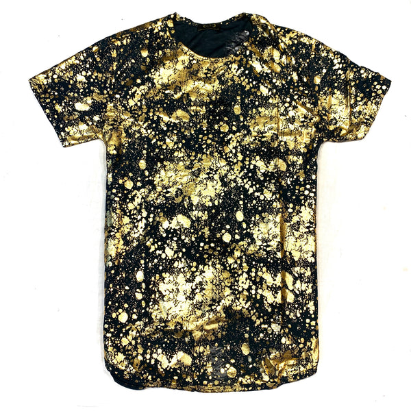 Gold Leaf Paint Splatter Short Sleeve Shirt - Dudes Boutique