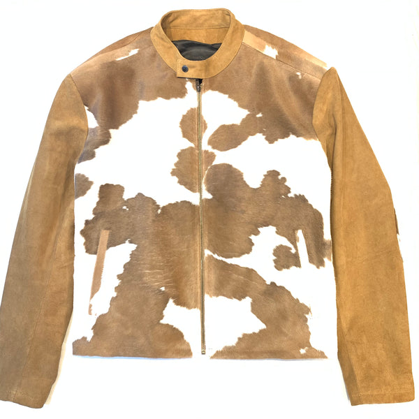 Kashani Tan Pony Hair Suede Bomber Jacket - Dudes Boutique