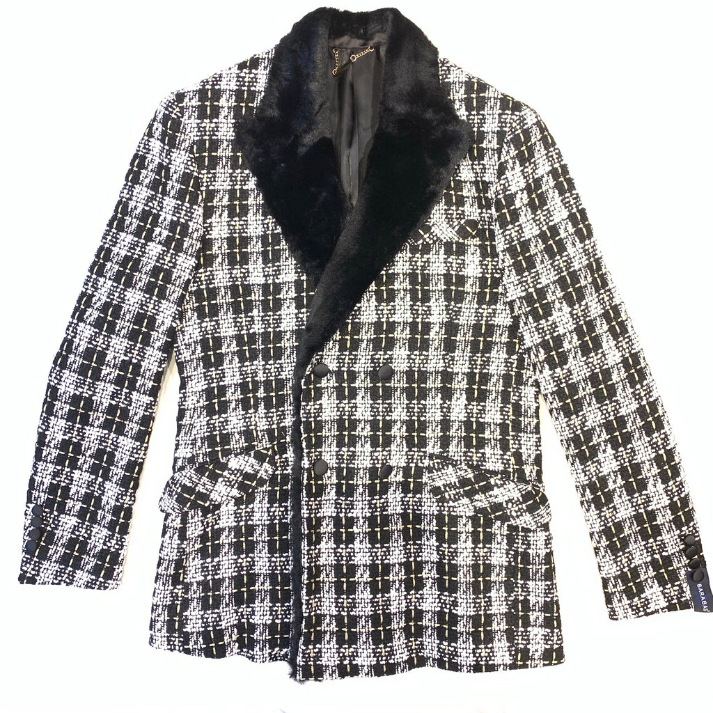Barabas Plaid Sherpa Double Breasted Blazer