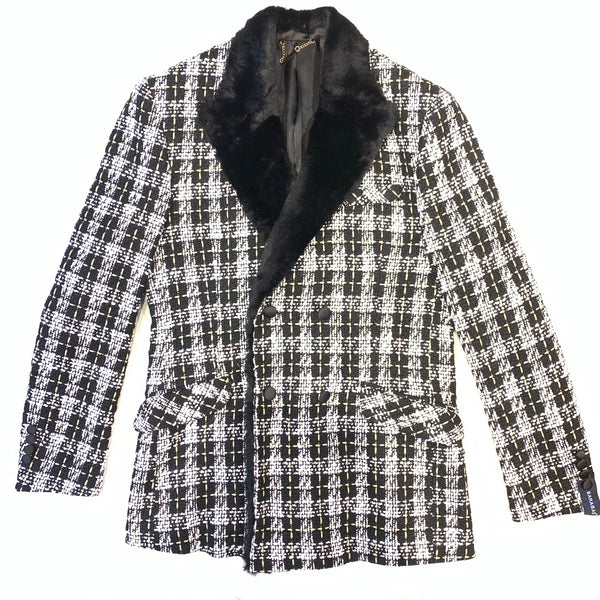 Barabas Plaid Sherpa Double Breasted Blazer - Dudes Boutique
