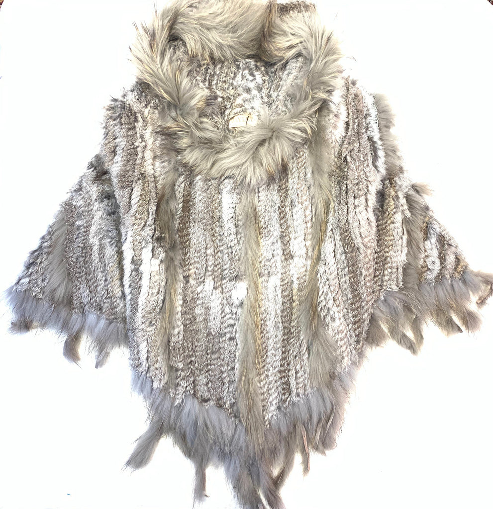 Jayley Charcoal Fox & Coney Fur Hooded Poncho - Dudes Boutique