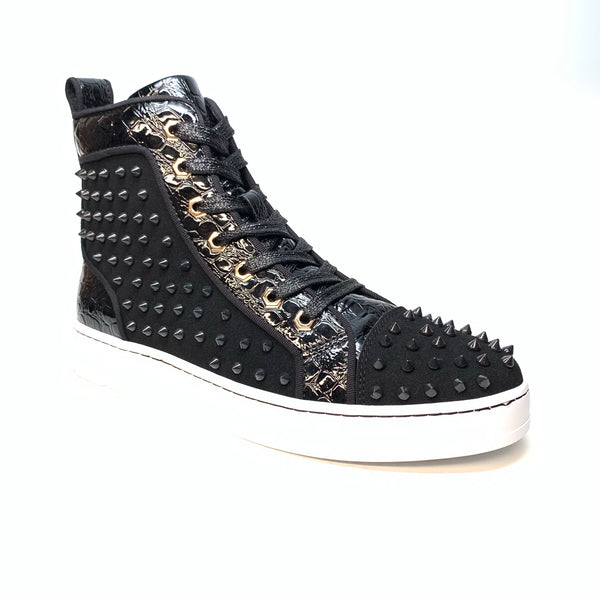 Fiesso Jet Black Patent Spiked High-top Sneakers