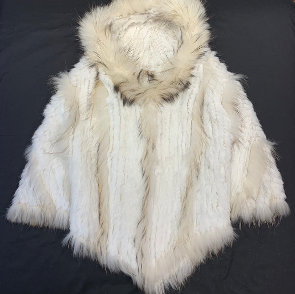 Jayley Cream Fox & Coney Fur Hooded Poncho - Dudes Boutique