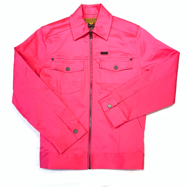 Public Denim Men's Hot-Pink Zipper Biker Jacket