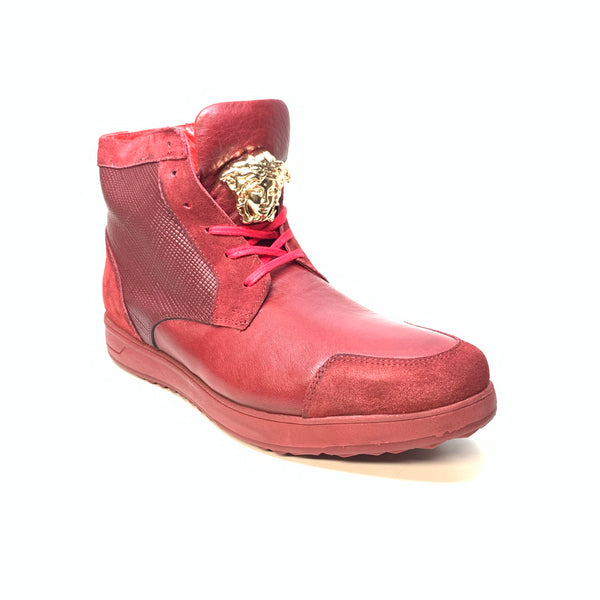 Sigotto Men's Wine Red Leather/Embossed Lizard High-Top Sneakers - Dudes Boutique