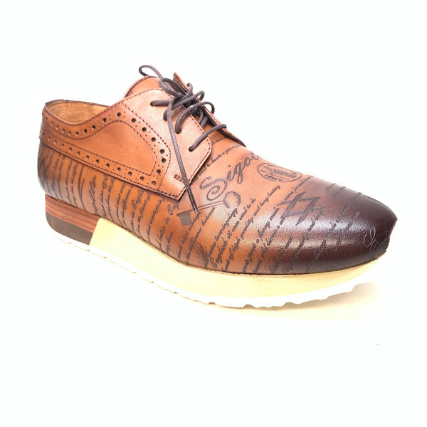 Sigotto Men's Brown Leather Oxford Lace Up Sneakers - Dudes Boutique